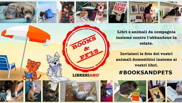 Cartolina rappresenta la campagna libreriamo di Booke e Pets