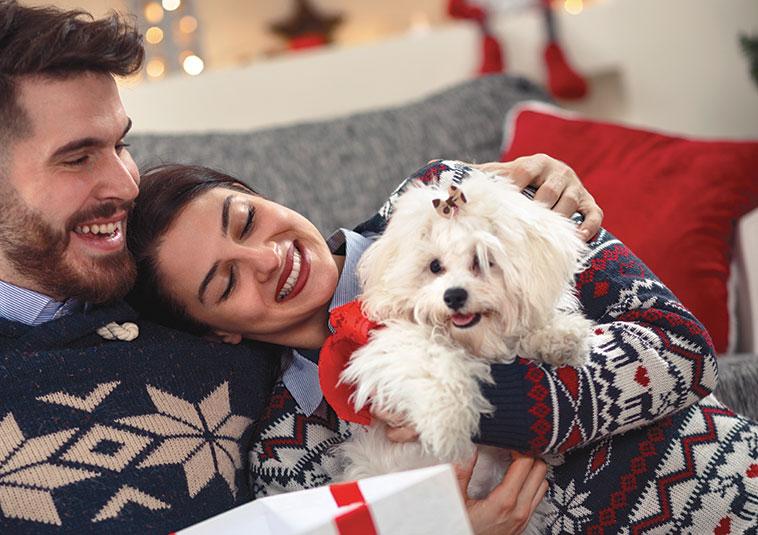 Coppia felice sotto l'albero con il proprio cane