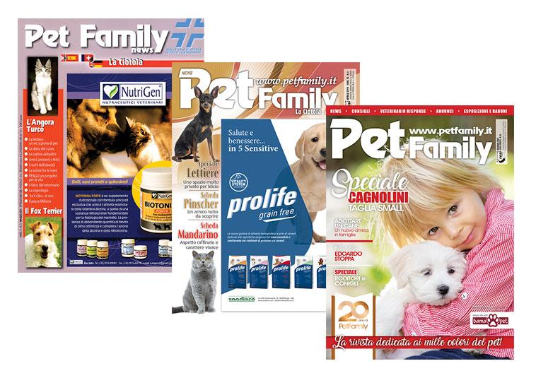 Alcune immagini dell'evoluzione della rivista Petfamily
