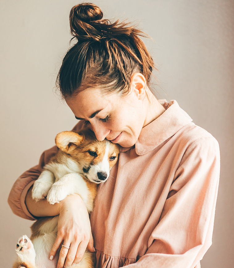Affetto tra cucciolo di cane e la proprietaria