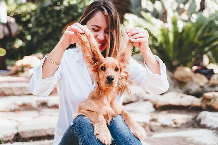 propietaria del cane che controlla le orecchie